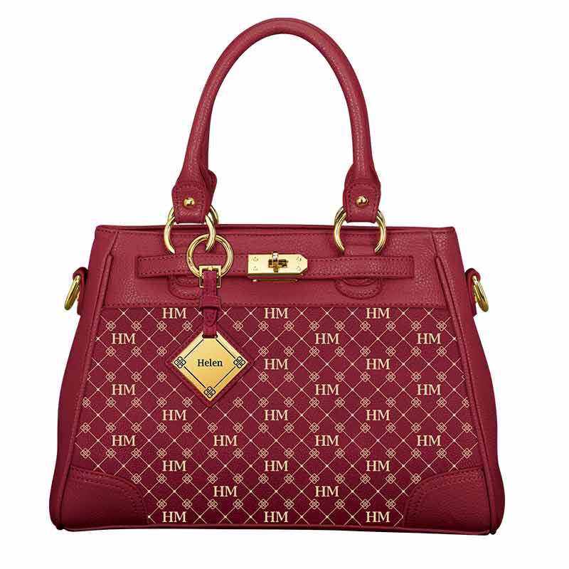 Personalized Initial Red Handbag 2209 001 3 2