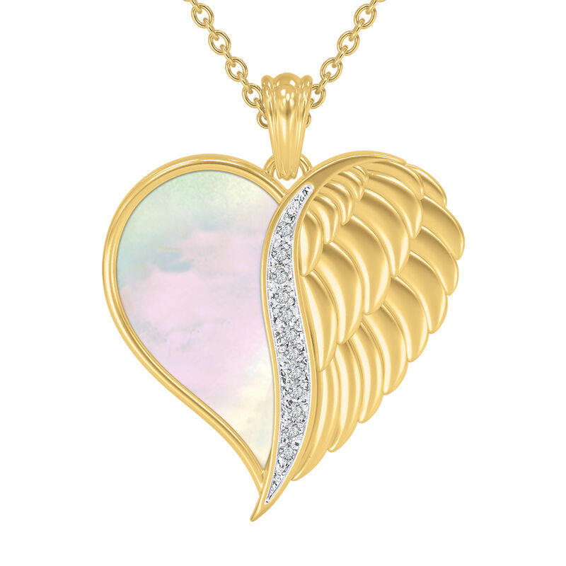 Angels are With You Diamond Heart Pendant 10424 0015 b front