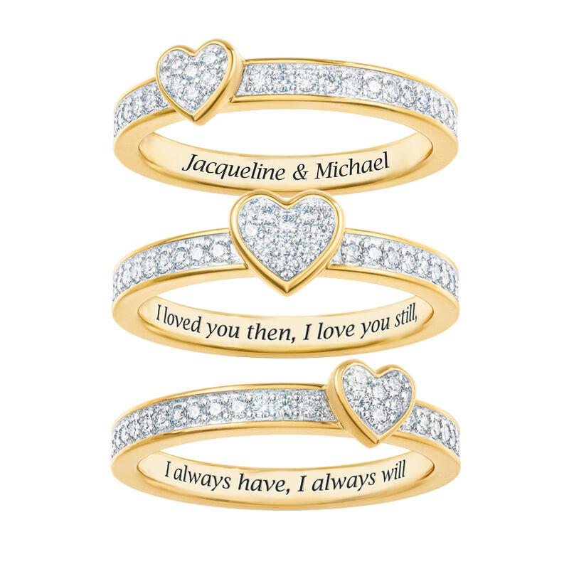 Love Everlasting Personalized Diamond Ring Set 10073 0019 b separated