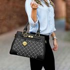 Personalized Initial Black Handbag 5878 001 6 6
