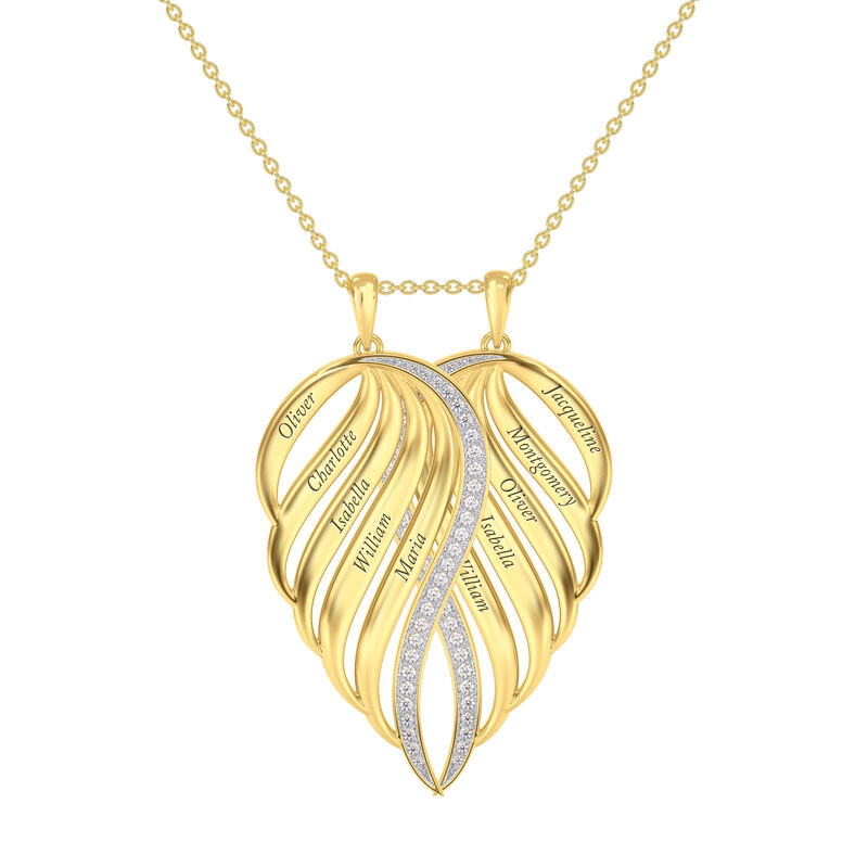 Personalized Family Angel Wing Necklace 10446 0019 a main