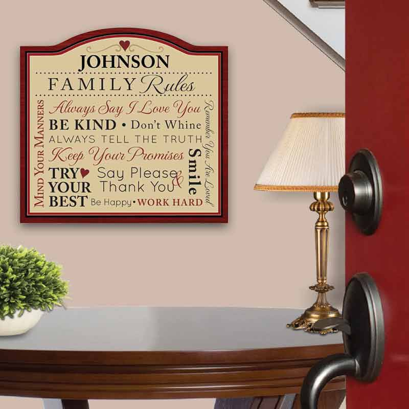 Family Rules Personalized Indoor Plaque 2138 001 9 2