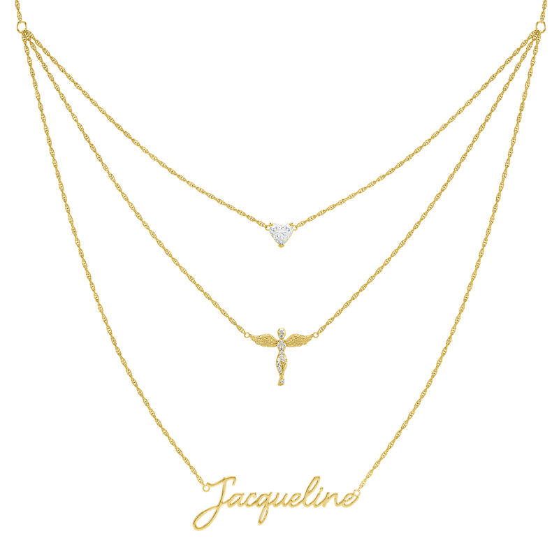 Someone to Watch Over My Daughter Layered Angel Necklace 10350 0013 a main