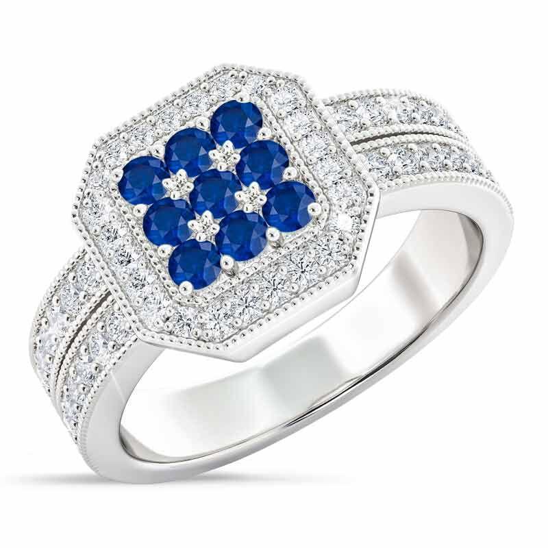Flair  Square Personalized Birthstone  Diamond Ring 2306 001 5 9