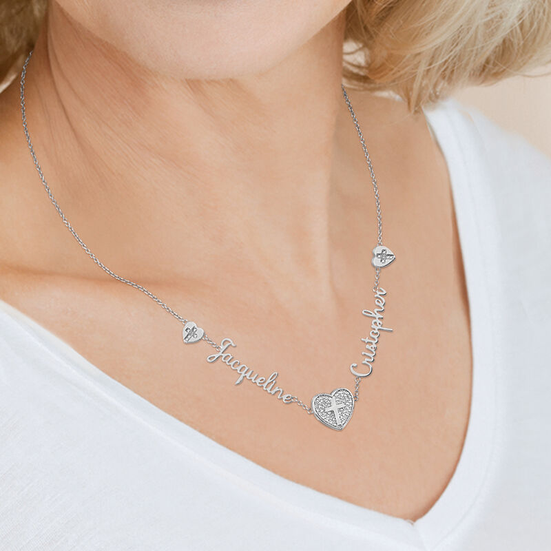 Our Love and Faith Diamond Necklace 10009 0018 m model