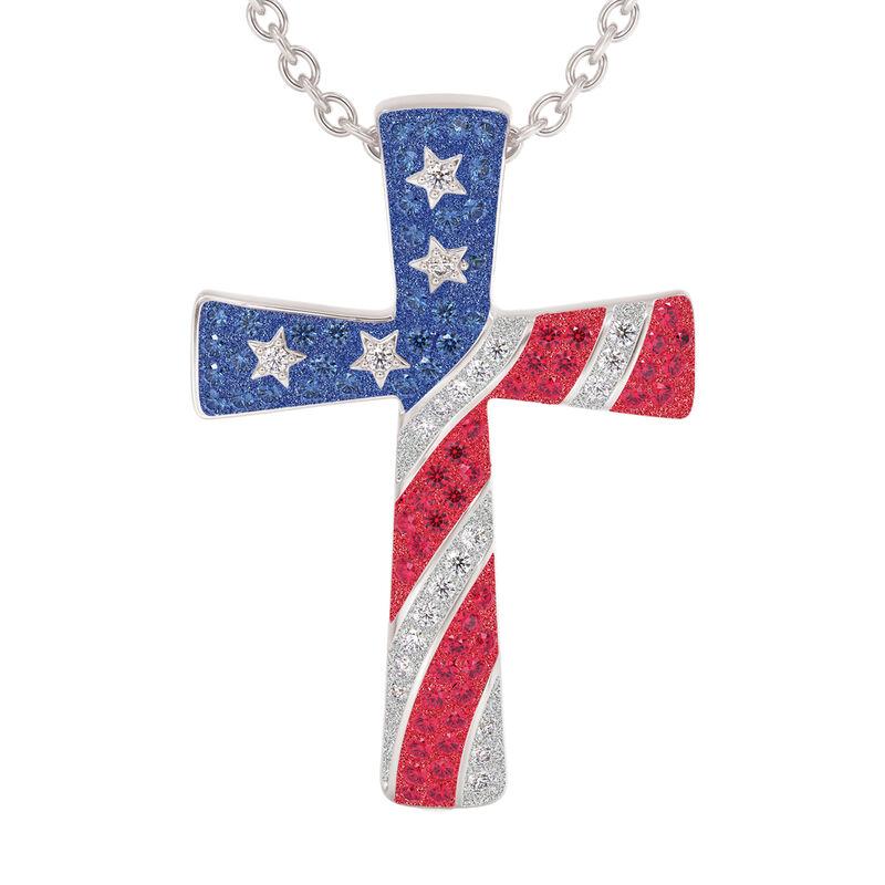 God Bless America Cross Pendant 10198 0019 b front