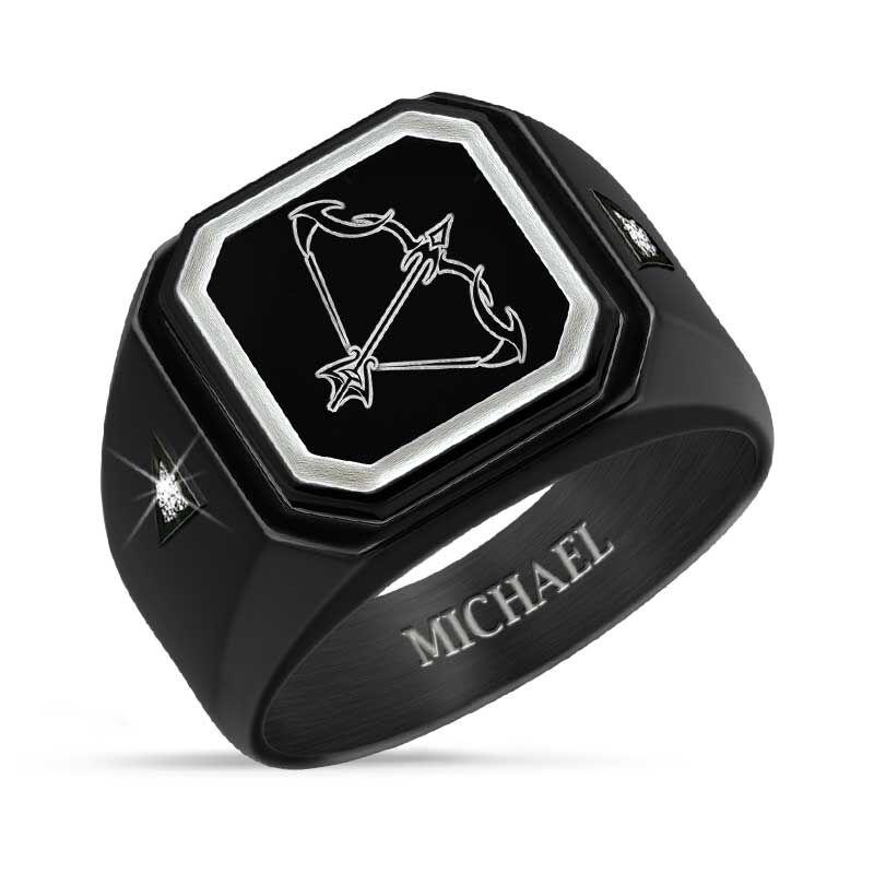 Personalized Zodiac Black Ice Ring 1438 001 8 1