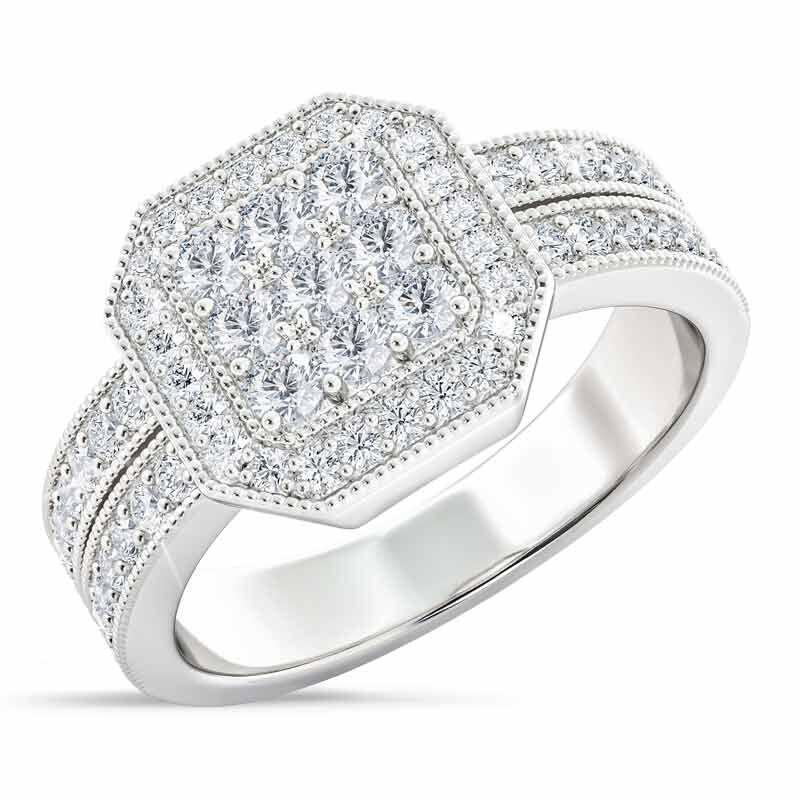Flair  Square Personalized Birthstone  Diamond Ring 2306 001 5 4