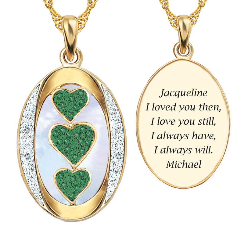 I Love You Custom Birthstone and Diamond Pendant 10702 0018 e may