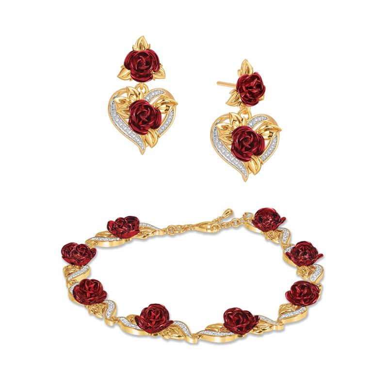 A Dozen Roses Heart Bracelet and Earring Set 6308 0022 a main