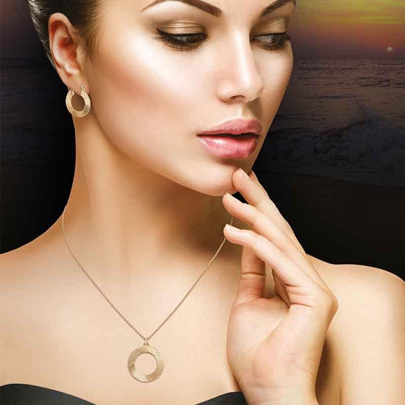 Golden Waves Pendant  Earring Set 6421 001 6 5