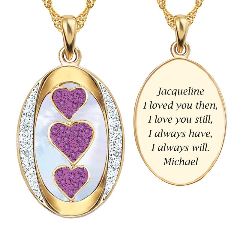 I Love You Custom Birthstone and Diamond Pendant 10702 0018 j october
