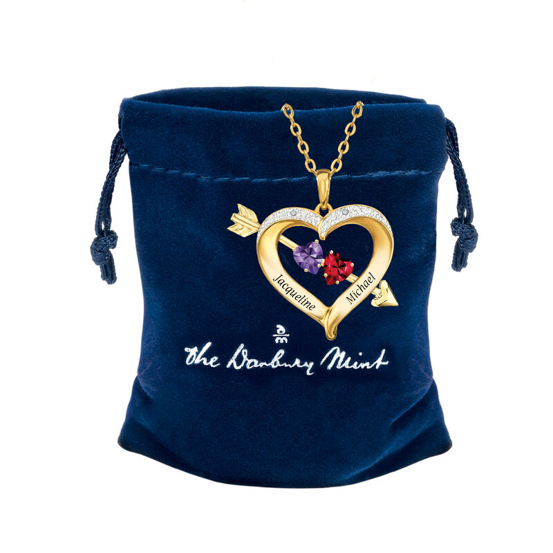 Joined in Love Birthstone Diamond Heart Pendant 10133 0017 g gift pouch