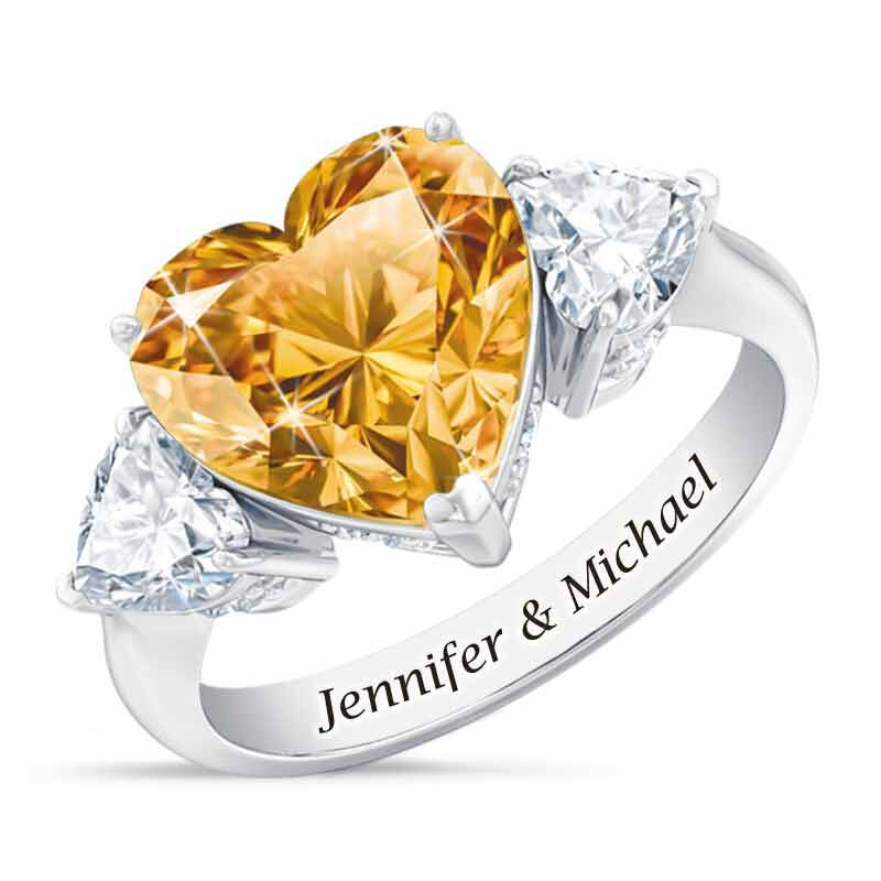 Birthstone Triple Heart Ring 1516 002 1 11
