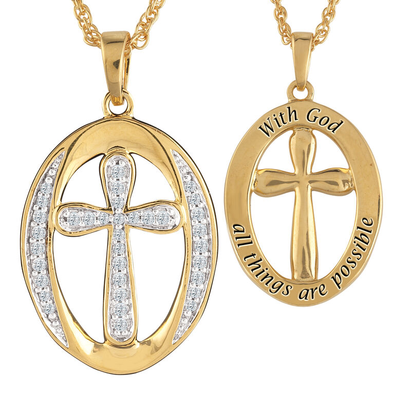 With God All Things Are Possible Infinity Oval Pendant 6750 0017 a main