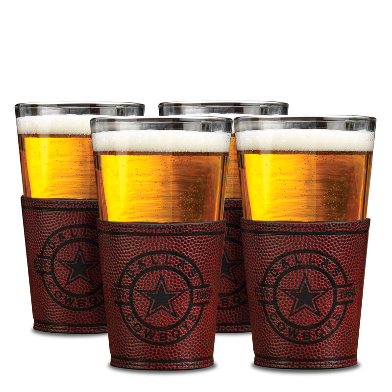 Cowboys Leather Wrapped Pint Glasses 6127 0013 a main