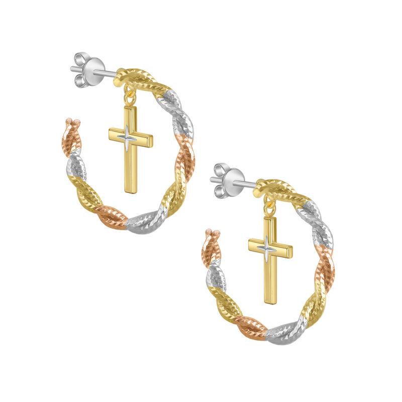 Radiant Hope Copper Cross Hoop Earrings 10211 0012 a main