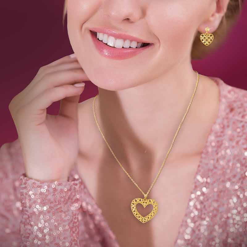 Golden Kisses Diamond cut Heart Pendant  Earring Set 2257 006 3 5