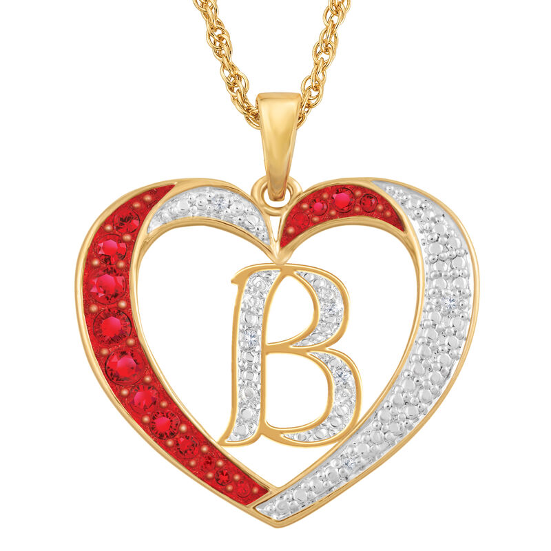 Personalized Diamond Initial Heart Pendant with FREE Poem Card 2300 0060 b initial