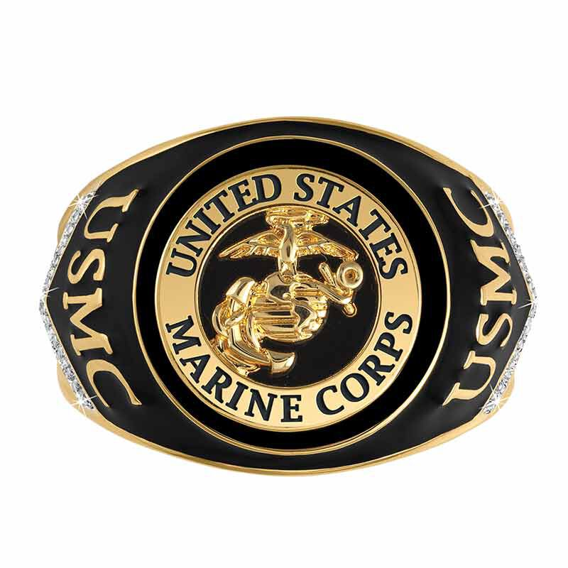 US Marines Onyx  Diamond Ring 6282 001 4 3