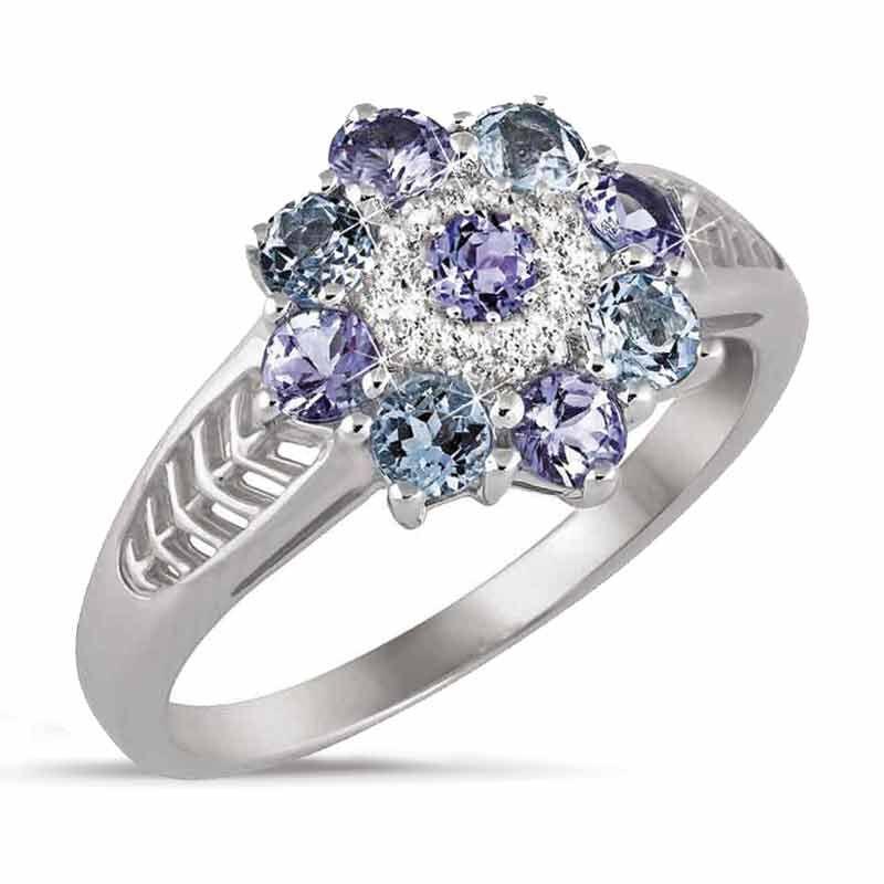 Tanzanite  Aquamarine Flower Ring 1000 002 4 1