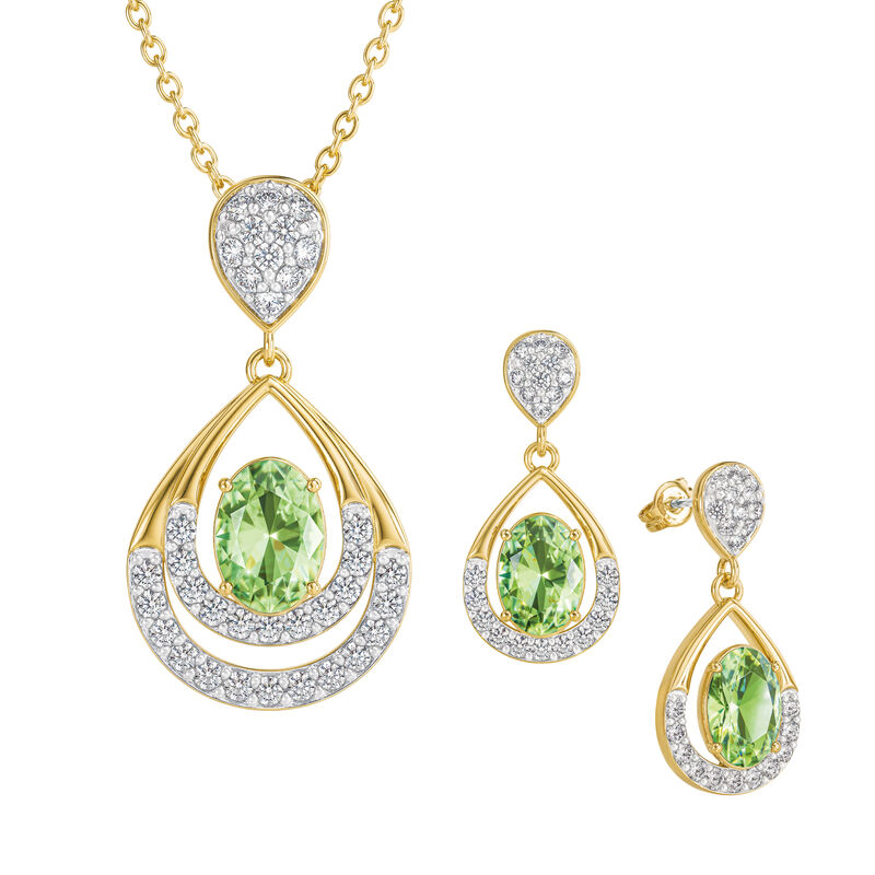Birthstone Necklace Earring Set 6930 0010 h august