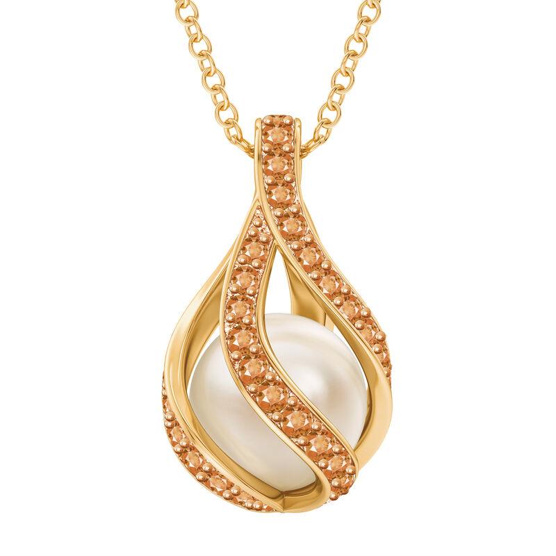 Loves Embrace Pearl Birthstone Necklace 10144 0014 k november