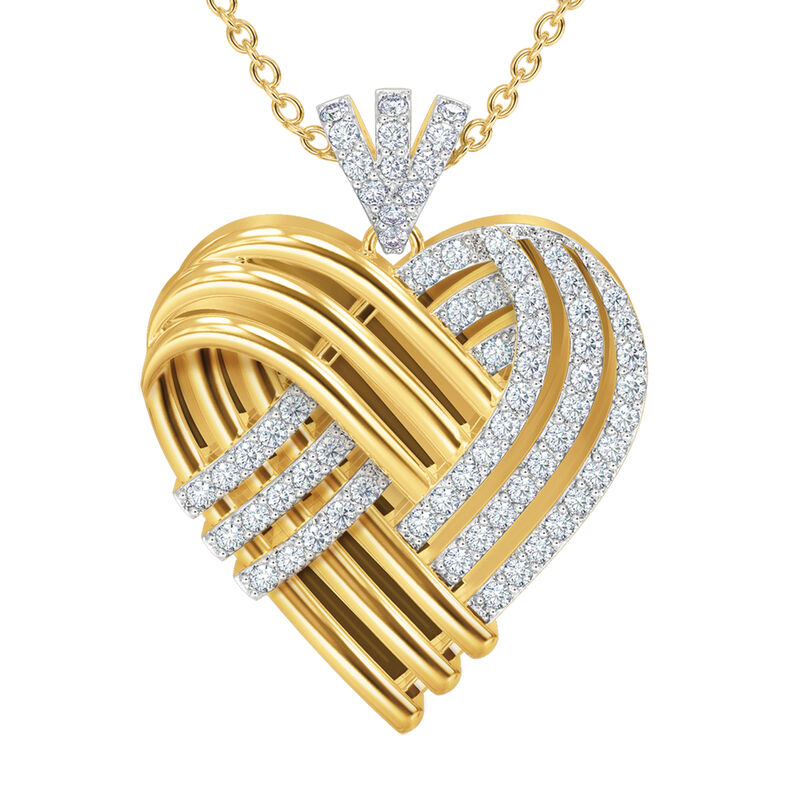 Woven Together Personalized Heart Pendant 10134 0016 b front