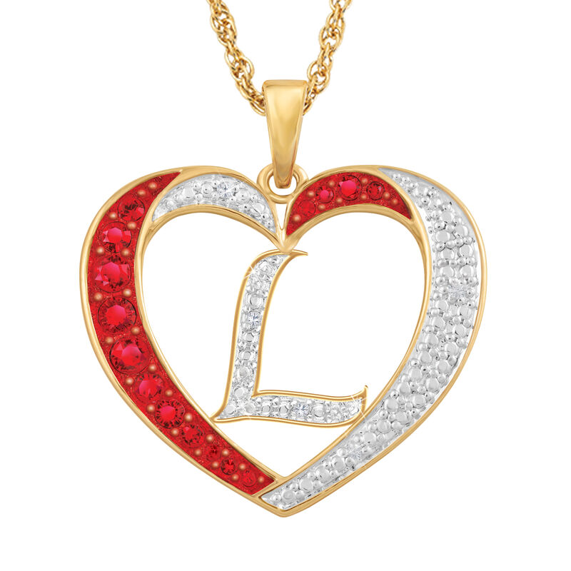 For My Daughter Diamond Initial Heart Pendant 10119 0015 a l initial