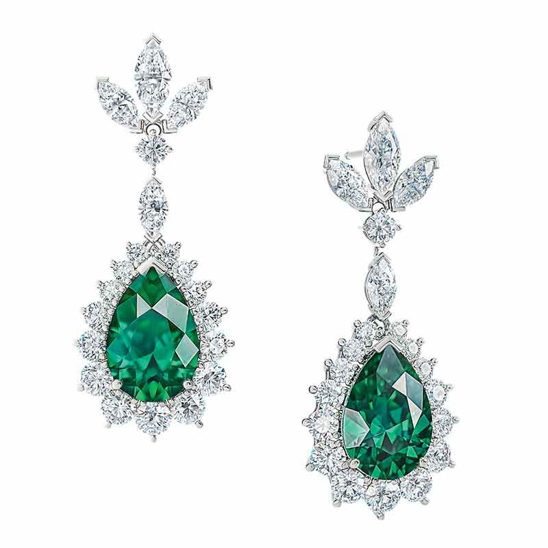 Emerald Allure Simulated Emerald and Diamond Earrings 6020 001 1 1