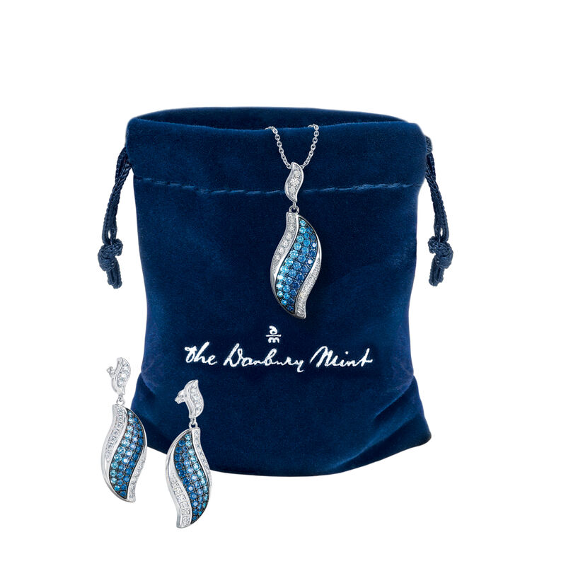Blue Wave Pendant and Earring Set 6580 0013 g gift pouch