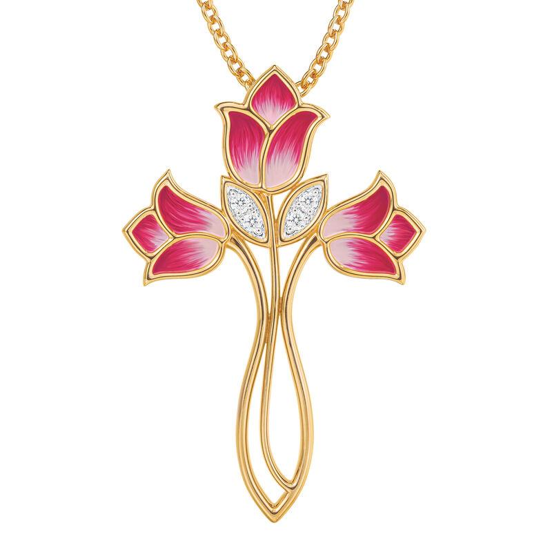 Beauty Surrounds Us Floral Cross Pendant 10205 0010 a main