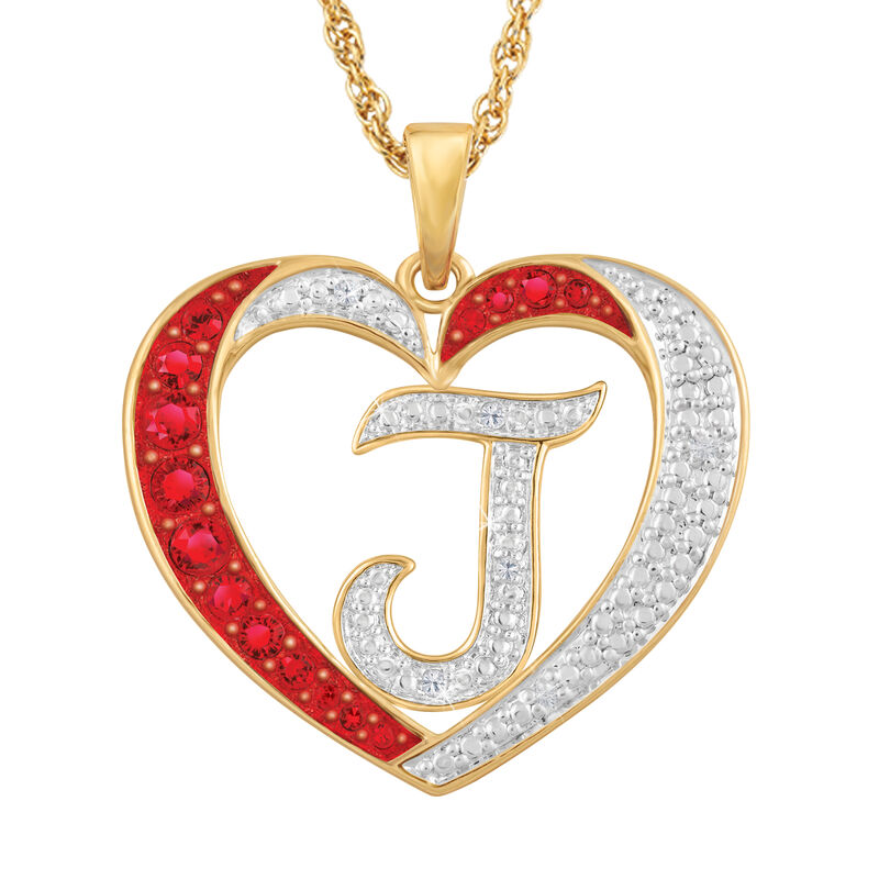 For My Daughter Diamond Initial Heart Pendant 10119 0015 a j initial