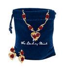 A Dozen Roses Heart Necklace Earring Set 10244 0013 g gift pouch