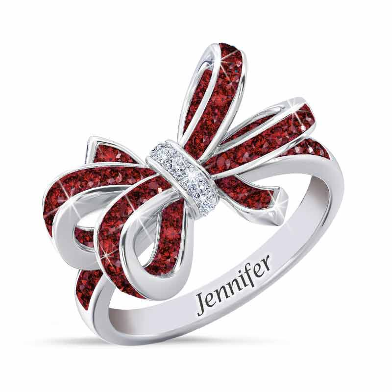 Birthstone  Diamond Bow Ring 1876 001 7 7