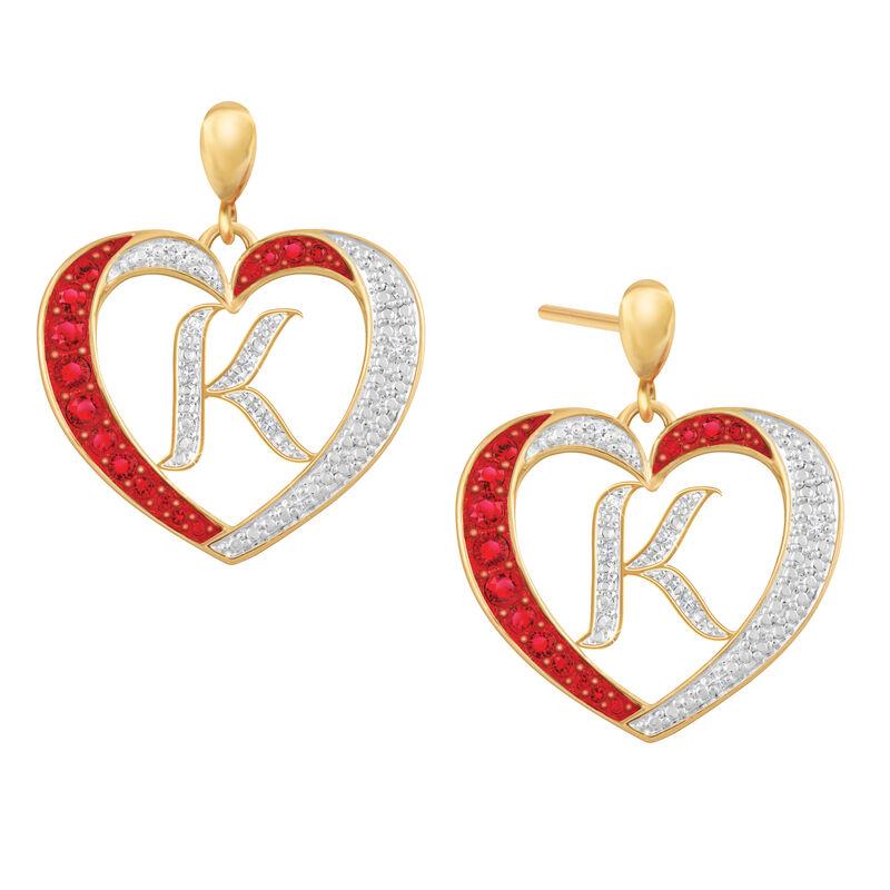 Diamond Initial Heart Earrings 2300 0094 k initial
