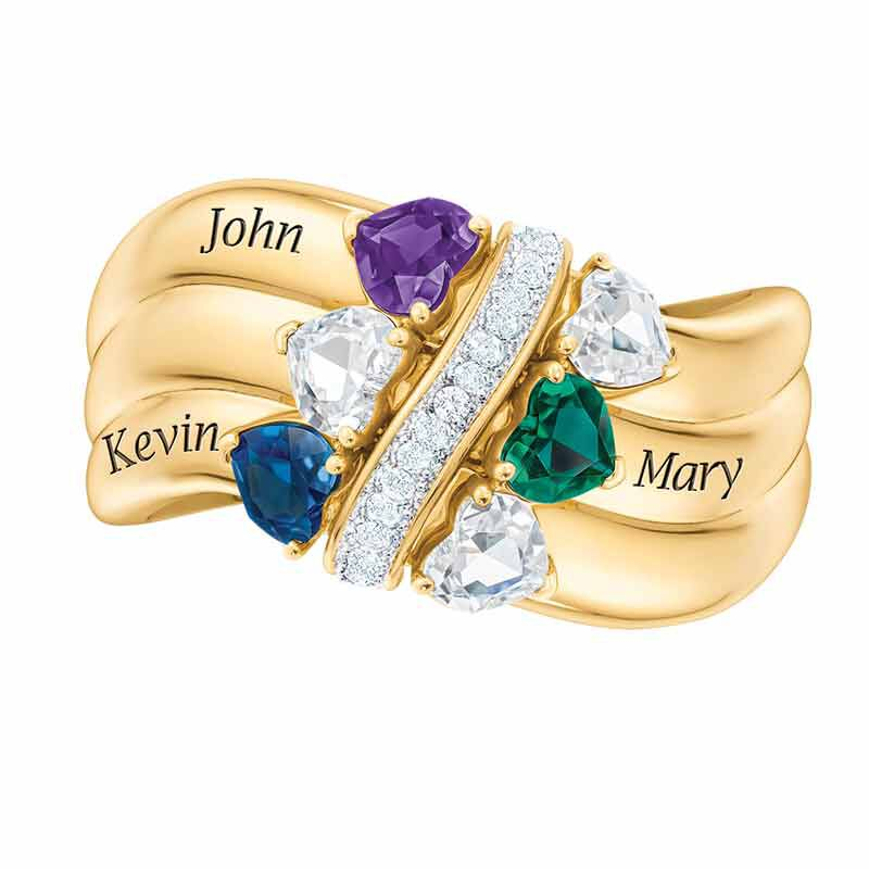 Many Hearts One Family Personalized Birthstone  Diamond Ring 6521 001 5 3