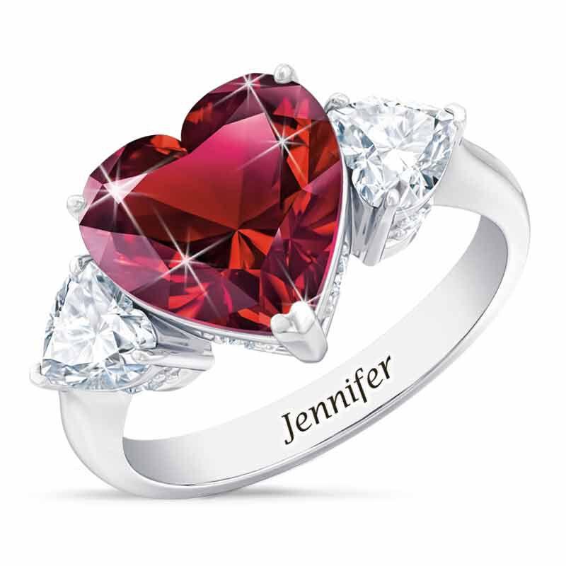 Birthstone Triple Heart Ring 1516 001 3 7