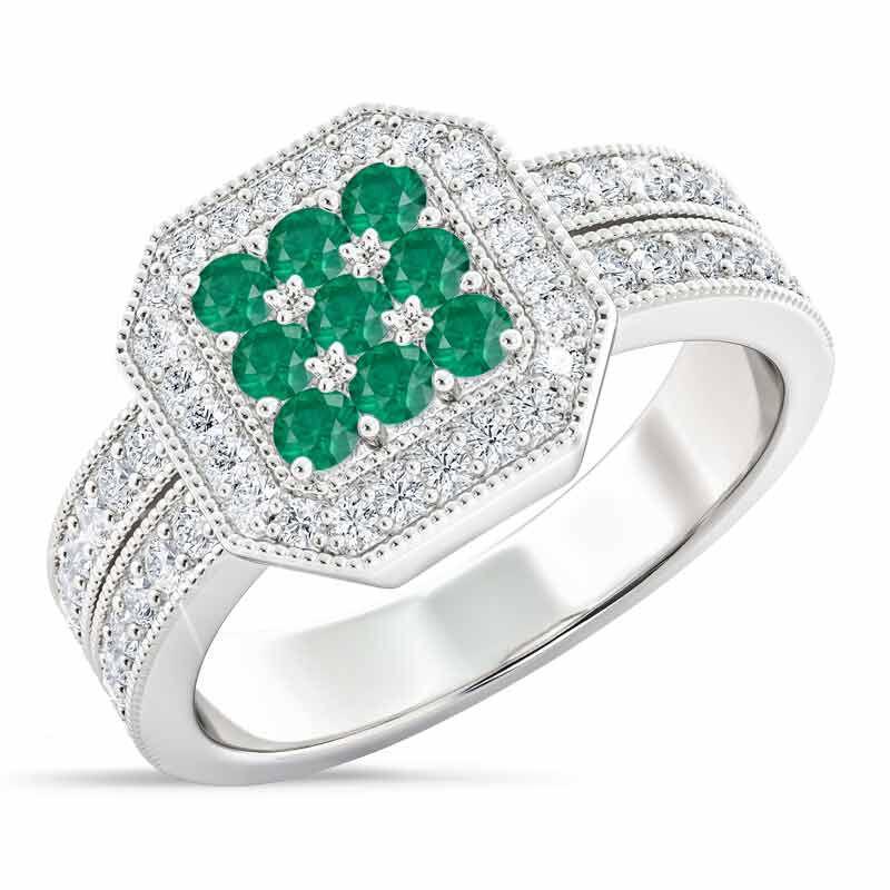 Flair  Square Personalized Birthstone  Diamond Ring 2306 001 5 5