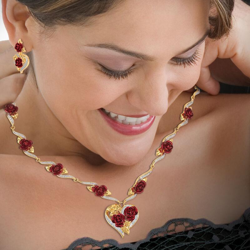 A Dozen Roses Heart Necklace Earring Set 10244 0013 m model