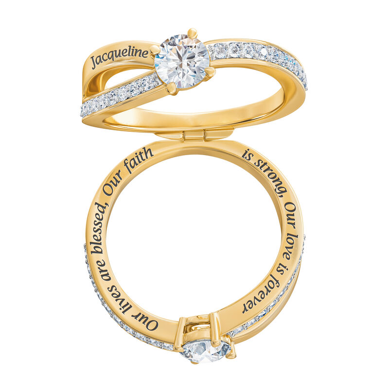 Our Lives are blessed our Faith is strong our Love is forever Blessed Secret Message Ring 6984 0015 b ring open