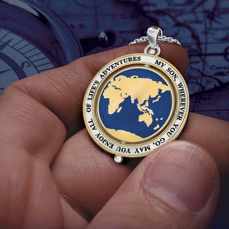 Son Enjoy Lifes Adventures Globe Spinner Pendant 6462 001 6 5