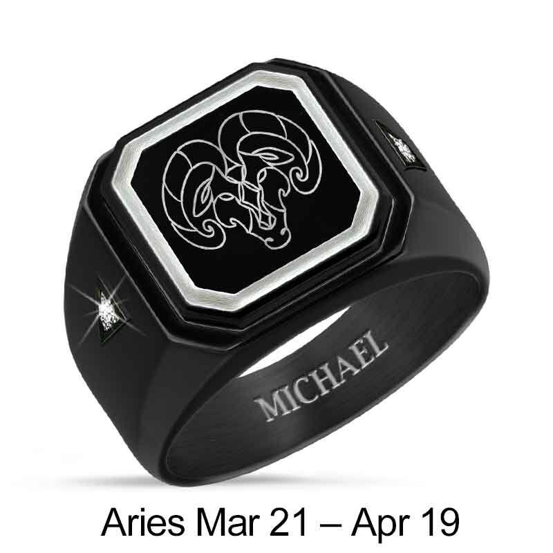 Personalized Zodiac Black Ice Ring 1438 001 8 4