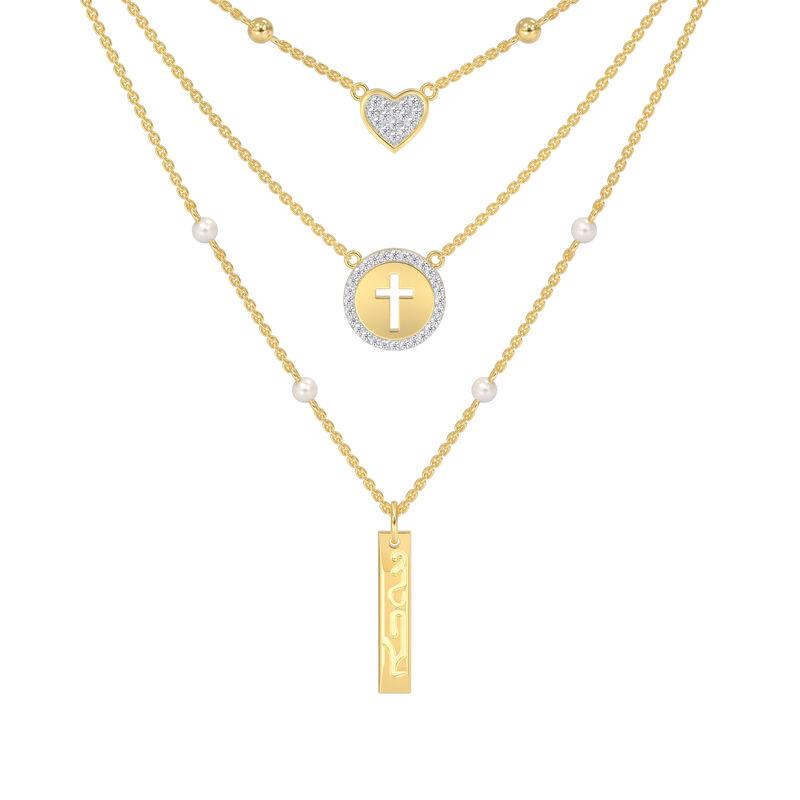 Love in Jesus Language Diamond Pearl Necklace 10226 0015 a main
