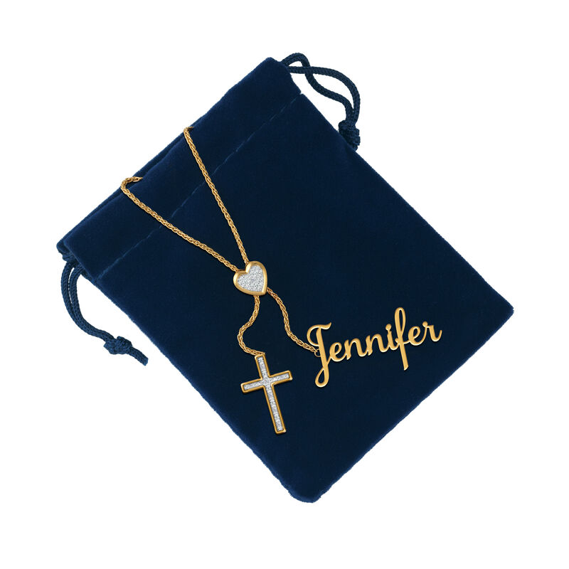 Personalized Cross Bolo Necklace 6513 0015 g gift pouch