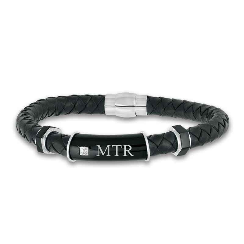 Black Ice Mens Leather Bracelet 1981 005 0 1