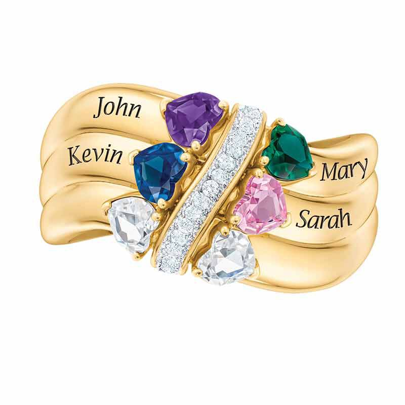 Many Hearts One Family Personalized Birthstone  Diamond Ring 6521 001 5 4
