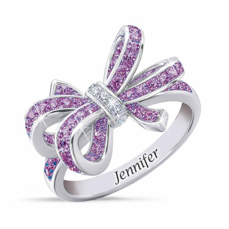 Birthstone  Diamond Bow Ring 1876 001 7 6