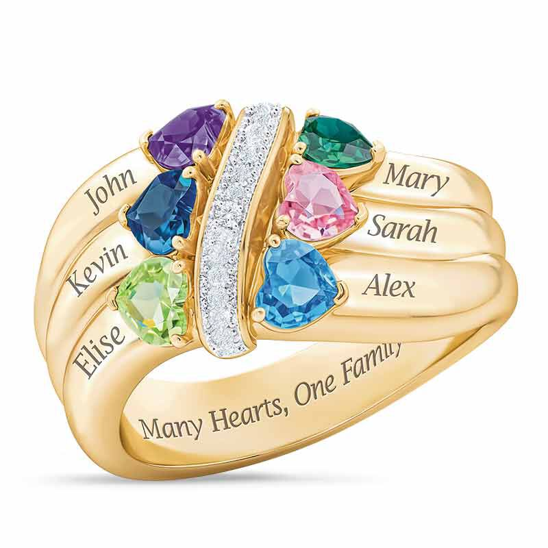 Many Hearts One Family Personalized Birthstone  Diamond Ring 6521 001 5 1