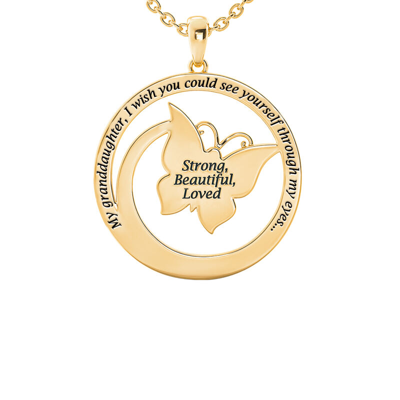 Strong Beautiful Loved Granddaughter Butterfly Pendant 10006 0011 c back